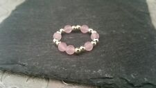 925 Sterling Silver Stretch Ball Rose Quartz Statement Ring Size L+ Gift