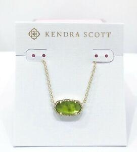 NEW KENDRA SCOTT Elisa 322 Gold Green Peridot Illusion Pendant Necklace