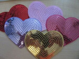 SEQUIN HEART IRON ON BADGE SEW ON PATCH SILVER EMBROIDERED APPLIQUE