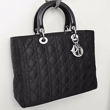 Lady Dior Medium Large Black Quilted Cannage Nylon Tessuto Leather Tote Bag $5K+