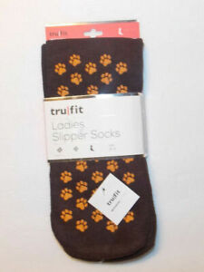 Tru Fit Ladies Slipper Sock Non Slip Grips Orange Paw Print Brown 9-11 NWT