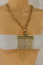 Women Gold Metal Chain Fringe Thin Links Veni Vidi Vici Pendant Fashion Necklace