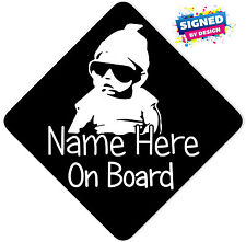 Personalised Baby On Board Car Sign ~ Baby in Sunnies Black With White
