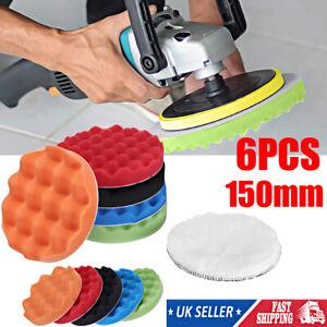6X 6'' 150mm Car Polishing Heads Mop Pads Sponge Soft Foam Buffing Tool Set