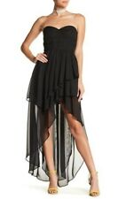 TOV Black Layered Mesh Hi-Low Corset Dress Women's 38 S Selena Gomez New $126