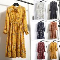 Women Floral Chiffon Long Sleeve Printing Casual Party Vintage Boho Maxi Dress