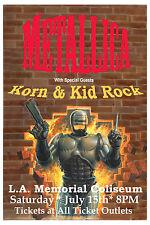 ROCK: Metallica Korn & Kid Rock at L.A. Memorial Coliseum Concert Poster