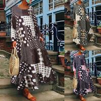 ZANZEA Womens O Neck Long Sleeve Floral Dresses Casual Baggy Maxi Dress Kaftan