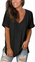 V Neck T Shirts Women Short Sleeve Tunic Flowy Tops Side, 02-black, Size X-Large
