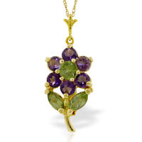 Genuine Amethyst & Peridots Gemstones Flower Pendant Necklace in 14K. Solid Gold