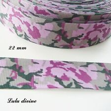 Ruban gros grain Camouflage Armée Ton rose & vert de 22 mm vendu au mètre