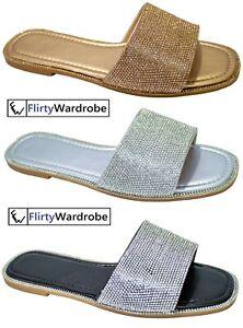 Slides Flat Sliders Slip On Mules Slippers Sandals Diamante Summer Beach Shoes