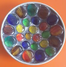 Vintage 1960-70s Retro Coloured Glass Pebbles Mosaic Dish Plate Kitsch Rare Tray
