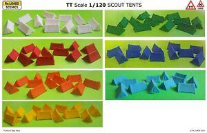 SCOUT TENTS, TT Scale (1/120) or Large N Scale / N Gauge Model Railway Scenics