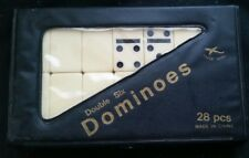 DOMINOES DOMINO DOUBLE SIX  SET OF 28 IVORY TILES CASE BLACK