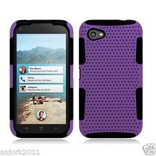 HTC First AT&T Mesh Hybrid Hard Case Skin Cover Purple Black