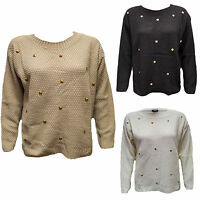 New Ladies Womens Sweater Studded Thick Knitted Long Sleeve Jumper Sizes 8-14