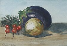 "BARBARA F SUTTON AUSTRALIAN WC ""STILL LIFE WITH VEGETABLES"" C 1995"