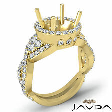 Diamond Engagement Antique Halo Pave Ring Round Semi Mount 18k Yellow Gold 1.66C