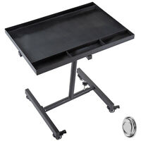 Rolling Tool Table Tear Down Tray55lbs Adjustable Height for Holding in Black