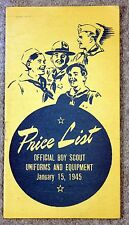 RARE 1945 OFFICIAL BOY SCOUT UNIFORMS EQUIPMENT PRICE LIST Guide BSA Scouts