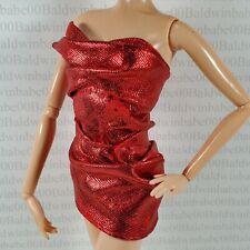 TOP ~ BARBIE DOLL LOOK MODEL MUSE RED METALLIC SPLASH MINI DRESS SHIRT ACCESSORY