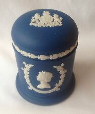 Wedgwood Portland Blue Silver Jubilee Tobacco Pot and Lid - The Queen