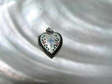 Vintage Dainty Sterling Silver Signed Heart Locket w Floral Enamel & Blue Cross