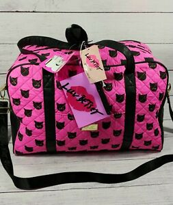 Betsey Johnson Weekender Tote Travel Duffle Bag Pink with Black Cat  NWT