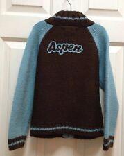 Boys ASPEN SKI Wool Zipper CARDIGAN SWEATER Cocoa Brown & Blue MIXTILLO 7 122cm