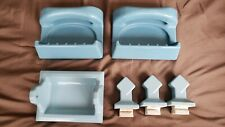 Vintage porcelain blue Bathroom Fixtures Set 3 Pcs Soap Dish & Towel Holders
