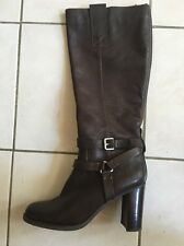 BANDOLINO BD Aisel Womens Dark Brown Leather Boots Size 9.5 Ned EUC Zipper