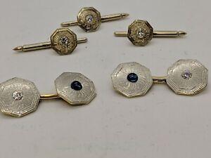 Vintage Platinum & 14K Gold Diamond & Sapphire Tuxedo Cuff-links Set