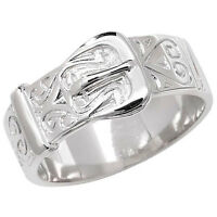 Buckle Ring Men's Gents Solid Sterling Silver Patterned Ring