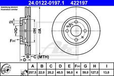 2x Bremsscheibe für Bremsanlage Vorderachse ATE 24.0122-0197.1