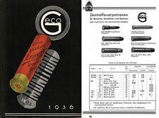 GECO Munitions 1936 Preisliste