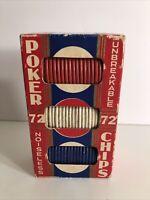 Vintage Flower Embossed Noiseless Unbreakable POKER CHIPS 72 in Original Box