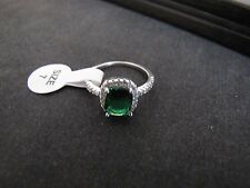 NEW!  3.0 Cttw Luxury Green Topaz and Artificial Diamond Ring- White Gold Plated