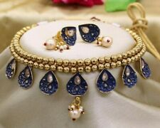 Ethnic Indian Blue Meenakari Choker Necklace Set/Pearl Floral Fashion Choker Set