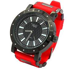 Mens Black Case Iced Hip Hop Fashion Red Silicone Quartz Wrist  Watches millano
