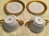 2 Double Handled Tea/Coffee Cups w 4 Saucers Stamped Selb Bavaria Krautheim SALE
