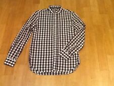 FRENCH CONNECTION NAVY & WHITE CHECK LONG SLEEVE SLIM FIT SHIRT SIZE SMALL