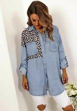 Ladies Animal Snake Leopard Print Dipped Hem Button Oversized Denim Shirt Top