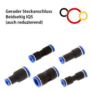 Schlauchverbinder mit Steckverbindung PUSH IQS Steckanschluss auch reduzierend
