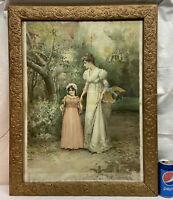 VTG Victorian 1892 Litho A MORNING WALK Mother Child Print BARBOLA Flower Frame