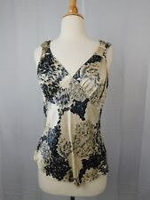 Harold's Silk Floral Print Sleeveless Shell Top Beige-Black Size Small #2509