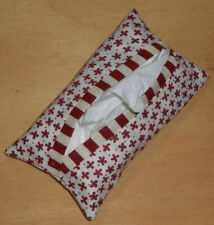 Tissue Packet Maroon Flowers Floral Pocket Holder Fabric Cover Handmade
