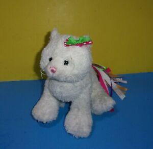 """Webkinz Pretty Kitty White Ribbon Cat 8"""" Bean Paws Plush Toy NO CODE HM688"""
