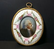 Vintage Reverse Painting in Oval Porcelain Hand Painted Frame - Artist Signed