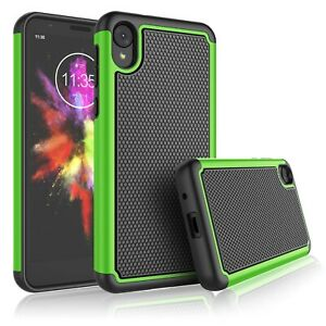 For Motorola Moto E6 Phone Case Shockproof Cover with Glass Screen Protector
